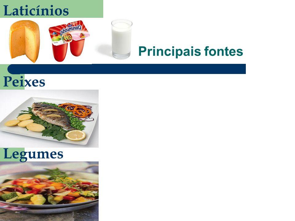 Principais fontes Laticínios Peixes Legumes