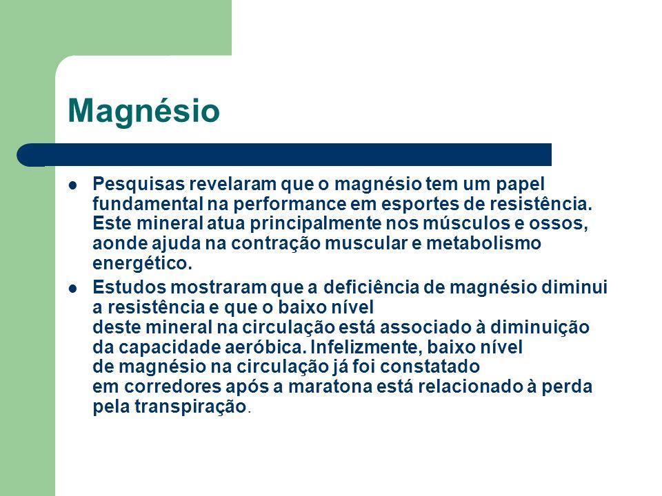Magnésio Pesquisas revelaram que o magnésio tem um papel fundamental na performance em esportes de resistência. Este mineral atua principalmente nos m