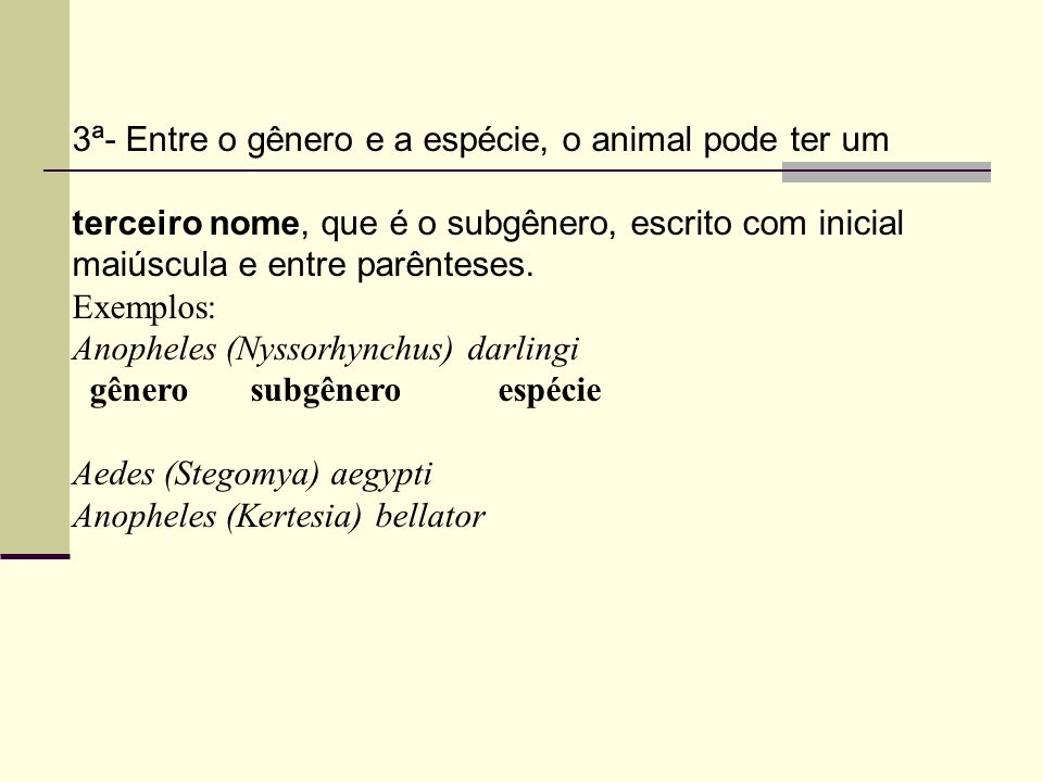 3ª- Entre o gênero e a espécie, o animal pode ter um terceiro nome, que é o subgênero, escrito com inicial maiúscula e entre parênteses. Exemplos: Ano