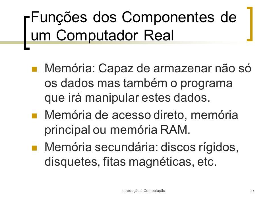 Introdução à Computação27 Funções dos Componentes de um Computador Real Memória: Capaz de armazenar não só os dados mas também o programa que irá mani