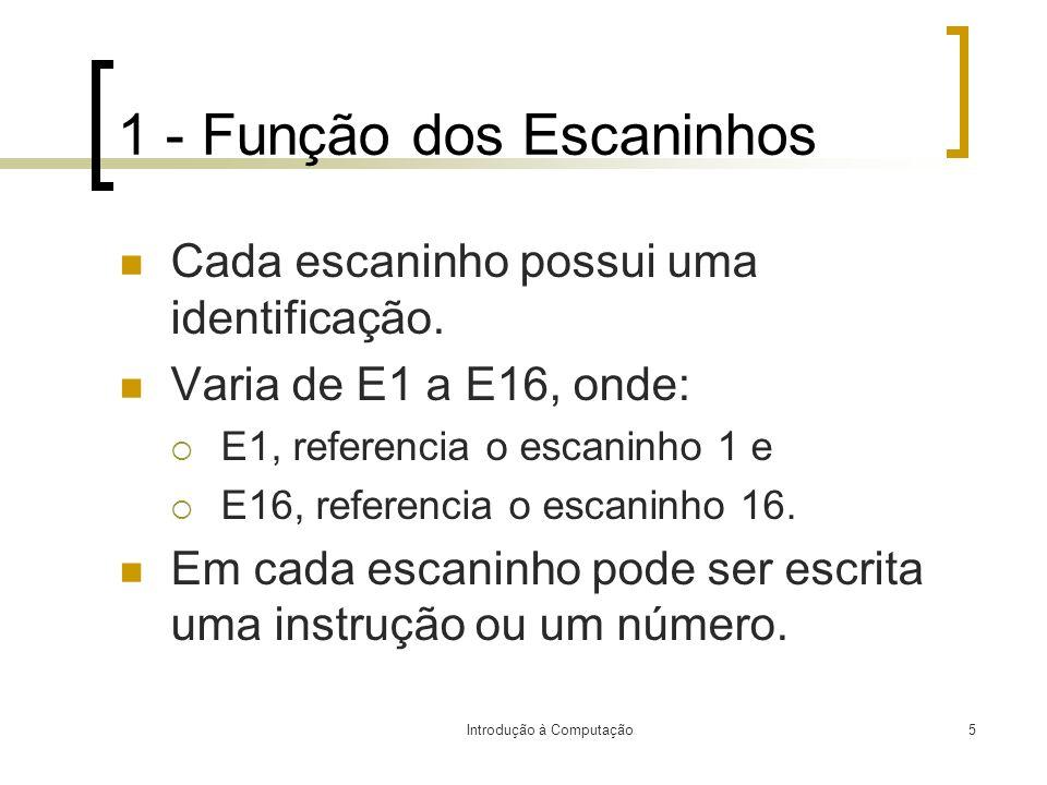 Introdução à Computação5 1 - Função dos Escaninhos Cada escaninho possui uma identificação. Varia de E1 a E16, onde: E1, referencia o escaninho 1 e E1