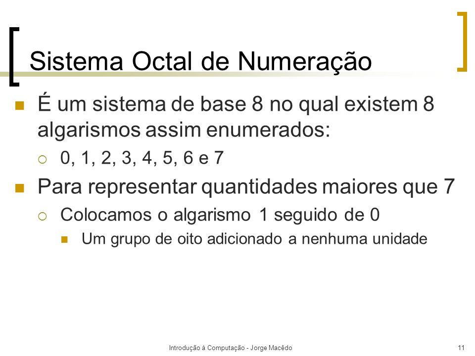 Introdução à Computação - Jorge Macêdo11 Sistema Octal de Numeração É um sistema de base 8 no qual existem 8 algarismos assim enumerados: 0, 1, 2, 3,