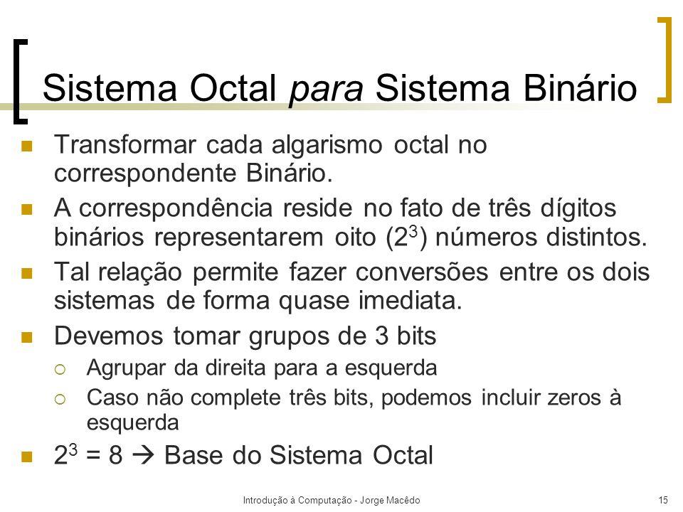 Introdução à Computação - Jorge Macêdo15 Sistema Octal para Sistema Binário Transformar cada algarismo octal no correspondente Binário. A correspondên