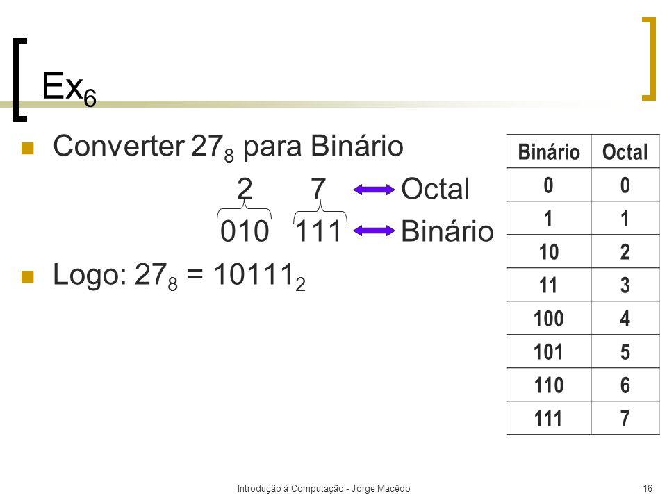 Introdução à Computação - Jorge Macêdo16 Ex 6 Converter 27 8 para Binário 2 7 Octal 010 111 Binário Logo: 27 8 = 10111 2 BinárioOctal 00 11 102 113 10