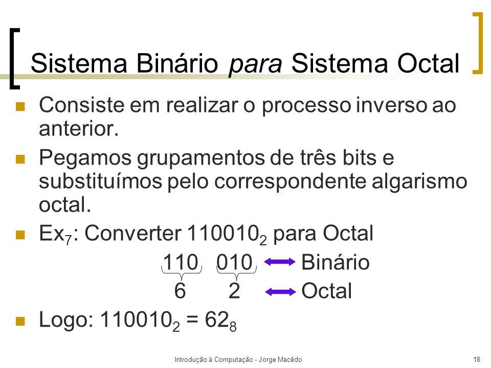 Introdução à Computação - Jorge Macêdo18 Sistema Binário para Sistema Octal Consiste em realizar o processo inverso ao anterior. Pegamos grupamentos d