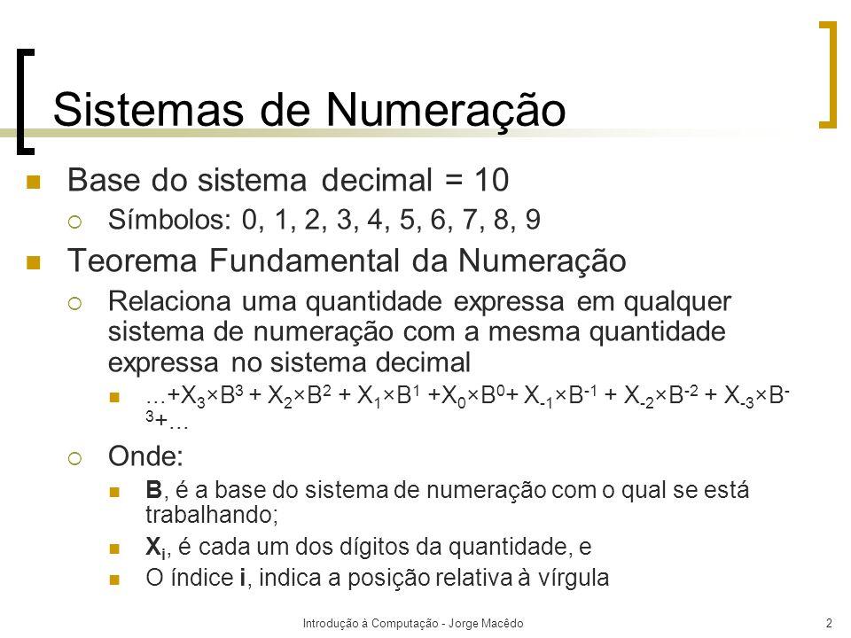 Introdução à Computação - Jorge Macêdo2 Sistemas de Numeração Base do sistema decimal = 10 Símbolos: 0, 1, 2, 3, 4, 5, 6, 7, 8, 9 Teorema Fundamental