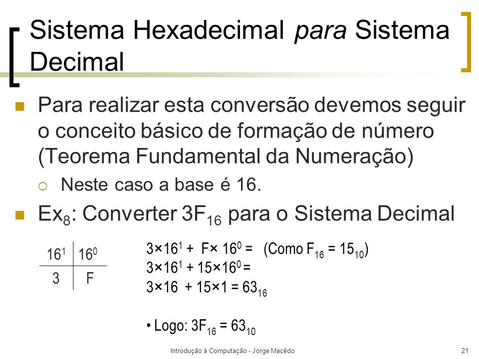 Introdução à Computação - Jorge Macêdo21 Sistema Hexadecimal para Sistema Decimal Para realizar esta conversão devemos seguir o conceito básico de for