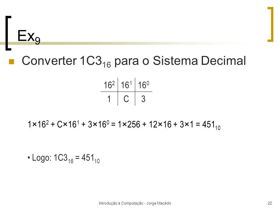 Introdução à Computação - Jorge Macêdo22 Ex 9 Converter 1C3 16 para o Sistema Decimal 1×16 2 + C×16 1 + 3×16 0 = 1×256 + 12×16 + 3×1 = 451 10 Logo: 1C
