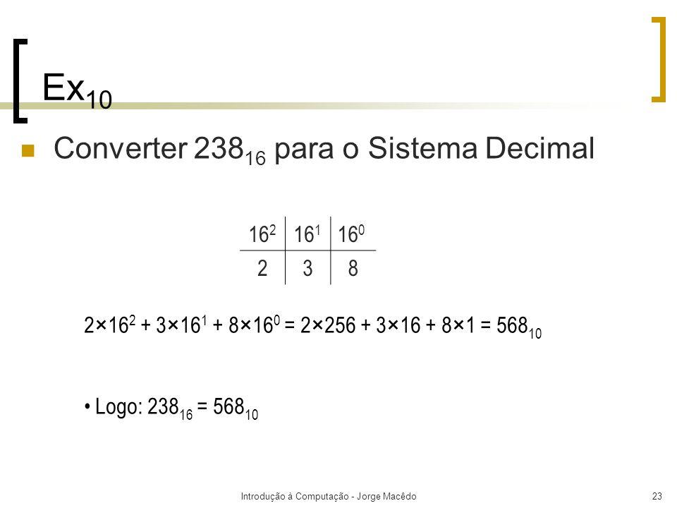 Introdução à Computação - Jorge Macêdo23 Ex 10 Converter 238 16 para o Sistema Decimal 2×16 2 + 3×16 1 + 8×16 0 = 2×256 + 3×16 + 8×1 = 568 10 Logo: 23