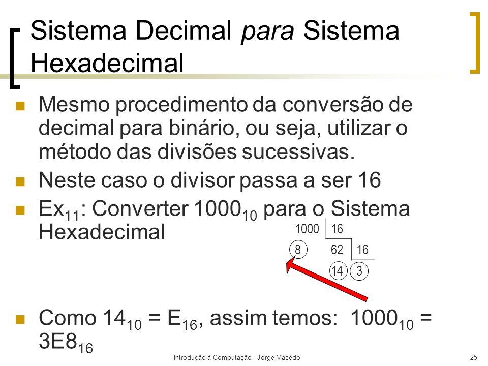 Introdução à Computação - Jorge Macêdo25 Sistema Decimal para Sistema Hexadecimal Mesmo procedimento da conversão de decimal para binário, ou seja, ut