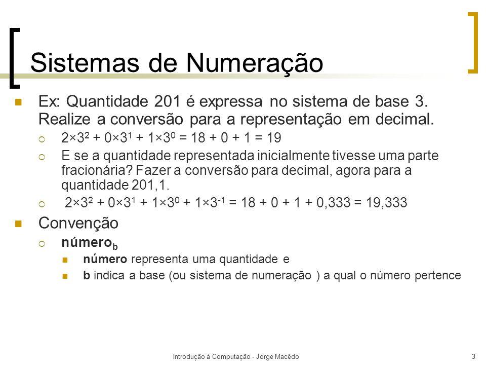 Introdução à Computação - Jorge Macêdo3 Sistemas de Numeração Ex: Quantidade 201 é expressa no sistema de base 3. Realize a conversão para a represent