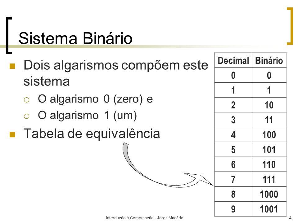 Introdução à Computação - Jorge Macêdo4 Sistema Binário Dois algarismos compõem este sistema O algarismo 0 (zero) e O algarismo 1 (um) Tabela de equiv