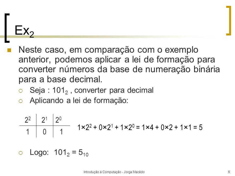 Introdução à Computação - Jorge Macêdo8 Ex 2 Neste caso, em comparação com o exemplo anterior, podemos aplicar a lei de formação para converter número