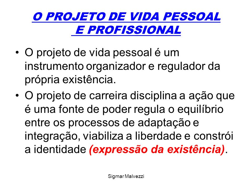 Sigmar Malvezzi O PROJETO DE VIDA PESSOAL E PROFISSIONAL O projeto de vida é elaborado pelo indivíduo a partir de sua subjetividade, dos meios disponíveis e da consciência do poder de sua causalidade pessoal.
