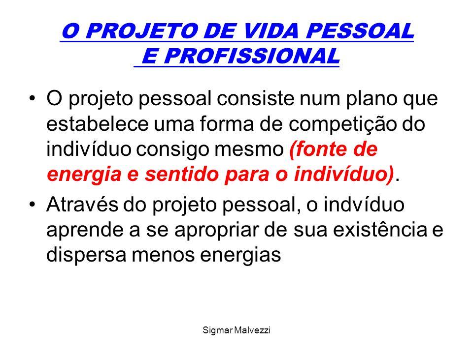 Sigmar Malvezzi O PROJETO DE VIDA PESSOAL E PROFISSIONAL O projeto pessoal consiste num plano que estabelece uma forma de competição do indivíduo consigo mesmo (fonte de energia e sentido para o indivíduo).