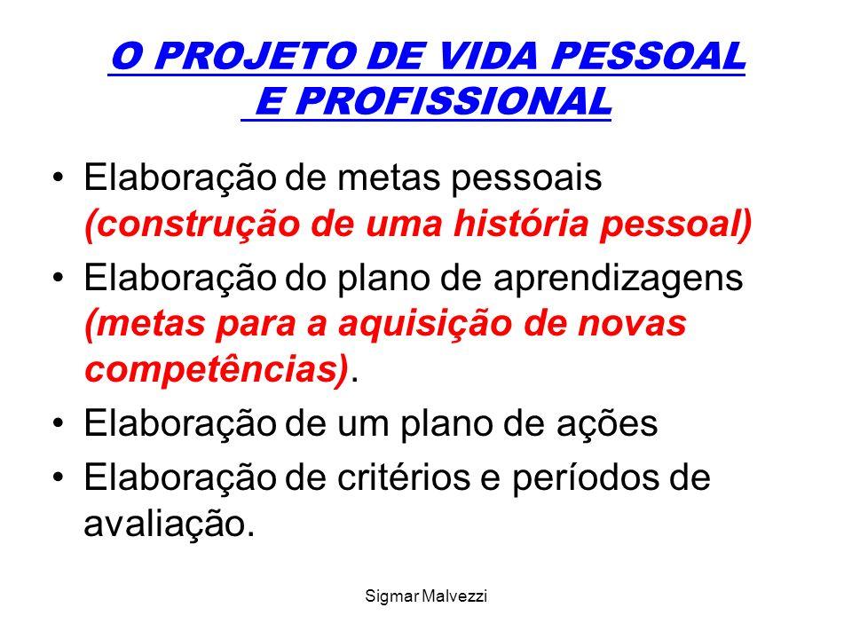 Sigmar Malvezzi O PROJETO DE VIDA PESSOAL E PROFISSIONAL Elaboração de metas pessoais (construção de uma história pessoal) Elaboração do plano de aprendizagens (metas para a aquisição de novas competências).