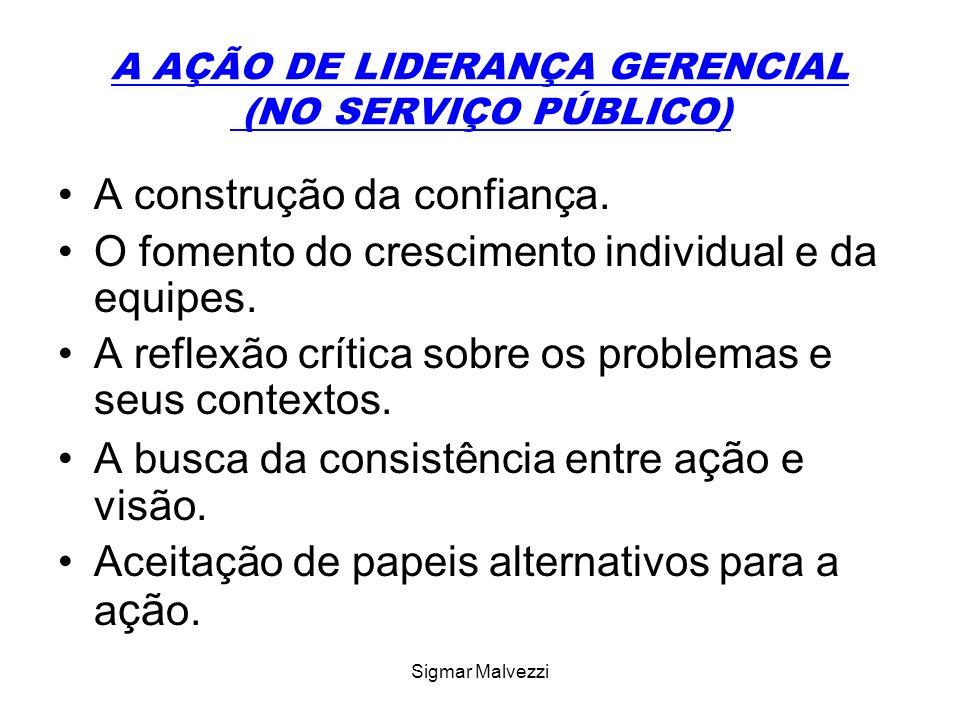 Sigmar Malvezzi A AÇÃO DE LIDERANÇA GERENCIAL (NO SERVIÇO PÚBLICO) A construção da confiança.