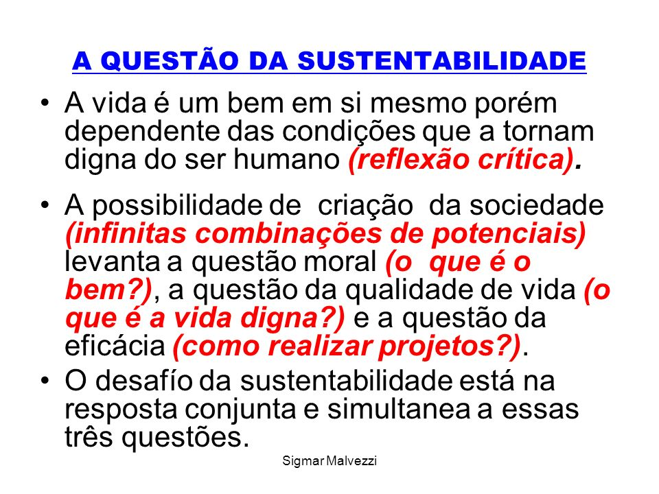 Sigmar Malvezzi A QUESTÃO DA SUSTENTABILIDADE A vida é um bem em si mesmo porém dependente das condições que a tornam digna do ser humano (reflexão crítica).
