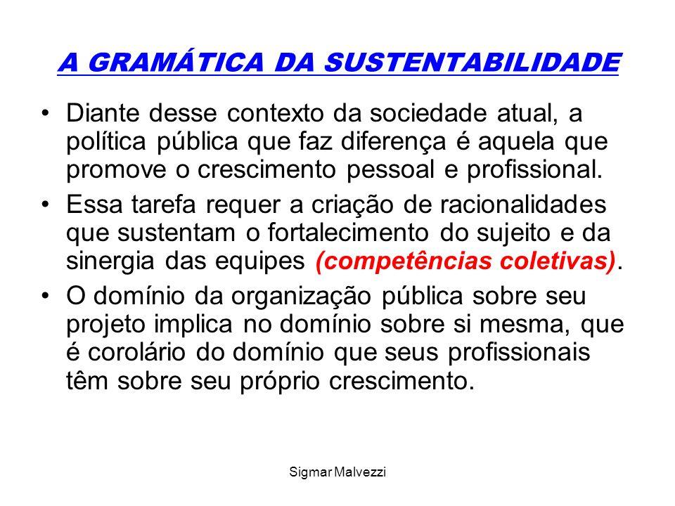 Sigmar Malvezzi A GRAMÁTICA DA SUSTENTABILIDADE Diante desse contexto da sociedade atual, a política pública que faz diferença é aquela que promove o crescimento pessoal e profissional.