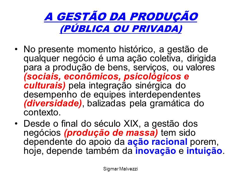 Sigmar Malvezzi A GESTÃO DA PRODUÇÃO Nesse contexto, a gestão da produção (pública e privada) tem sido problemática, pelo dinamismo da sociedade que alterou o conceito de ação racional devido às propriedades emergentes nas estruturas, grupos e pessoas.