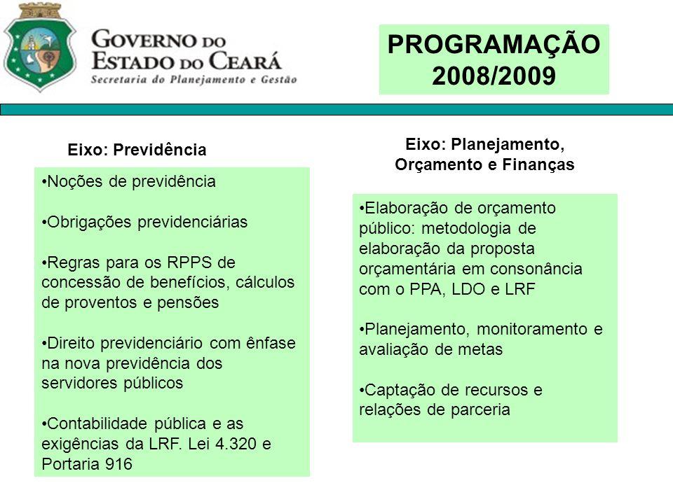 PROGRAMAÇÃO 2008/2009 Noções de previdência Obrigações previdenciárias Regras para os RPPS de concessão de benefícios, cálculos de proventos e pensões