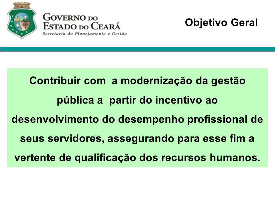 Contribuir com a modernização da gestão pública a partir do incentivo ao desenvolvimento do desempenho profissional de seus servidores, assegurando pa
