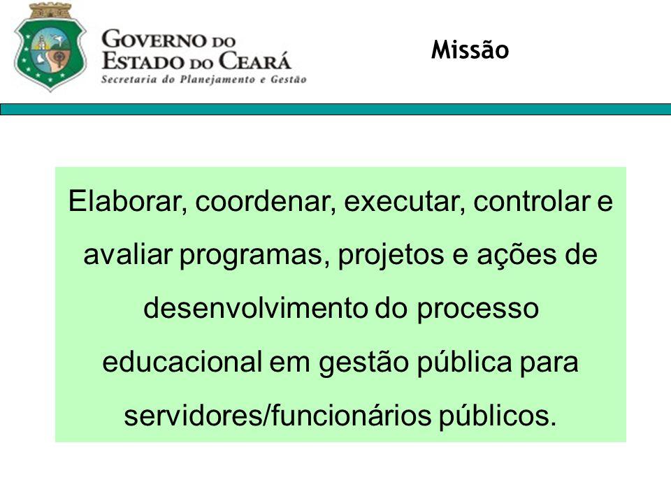 Elaborar, coordenar, executar, controlar e avaliar programas, projetos e ações de desenvolvimento do processo educacional em gestão pública para servi