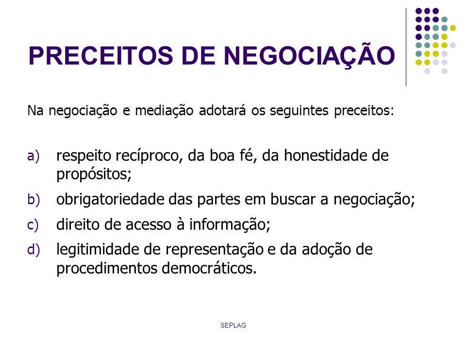 SEPLAG PAUTA DE NEGOCIAÇÃO Aborda: temas de natureza econômica; temas de natureza social; demais assuntos de interesse das partes.