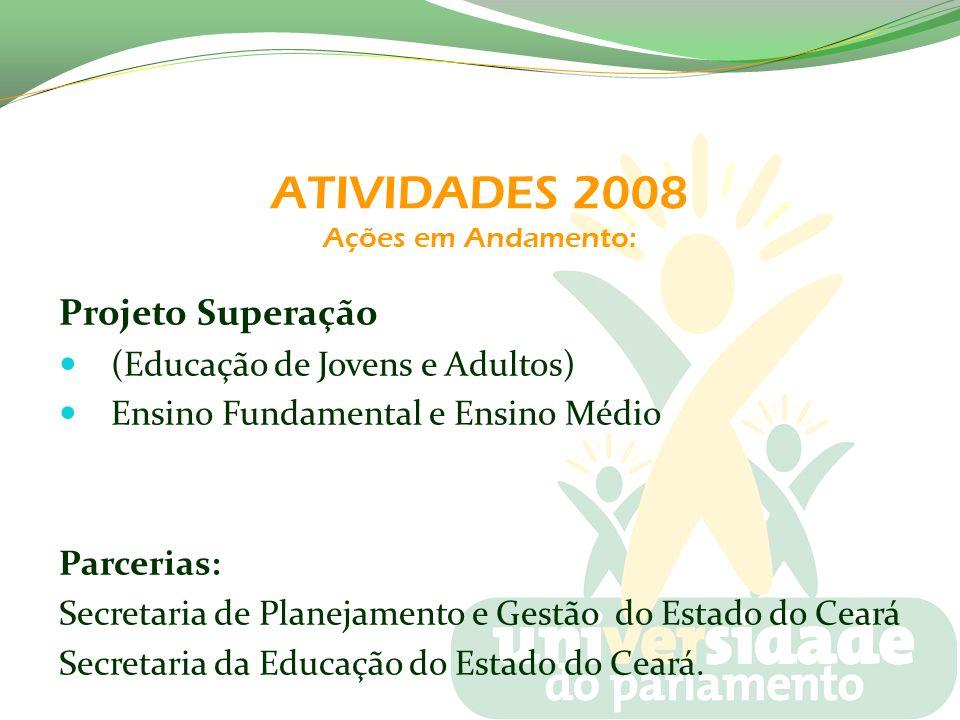 ATIVIDADES 2008 Ações em Andamento: Projeto Superação (Educação de Jovens e Adultos) Ensino Fundamental e Ensino Médio Parcerias: Secretaria de Planej