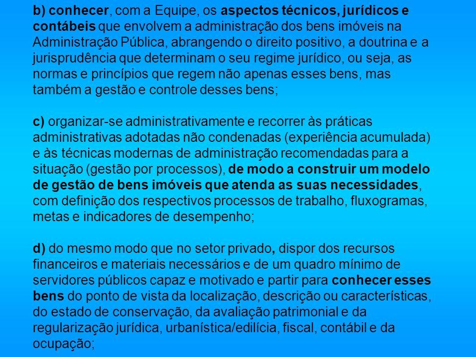 b) conhecer, com a Equipe, os aspectos técnicos, jurídicos e contábeis que envolvem a administração dos bens imóveis na Administração Pública, abrange