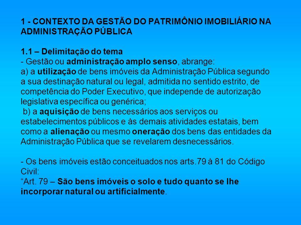 1 - CONTEXTO DA GESTÃO DO PATRIMÔNIO IMOBILIÁRIO NA ADMINISTRAÇÃO PÚBLICA 1.1 – Delimitação do tema - Gestão ou administração amplo senso, abrange: a)