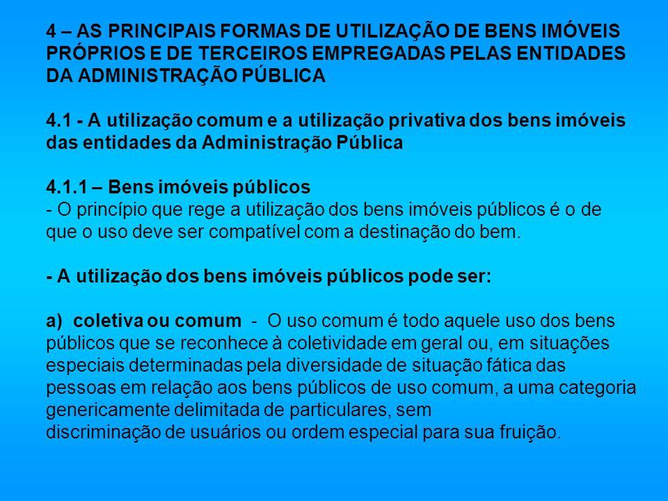 4 – AS PRINCIPAIS FORMAS DE UTILIZAÇÃO DE BENS IMÓVEIS PRÓPRIOS E DE TERCEIROS EMPREGADAS PELAS ENTIDADES DA ADMINISTRAÇÃO PÚBLICA 4.1 - A utilização