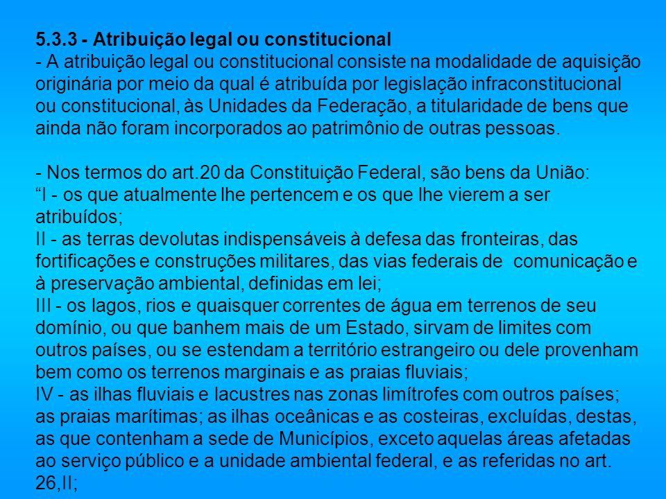 5.3.3 - Atribuição legal ou constitucional - A atribuição legal ou constitucional consiste na modalidade de aquisição originária por meio da qual é at