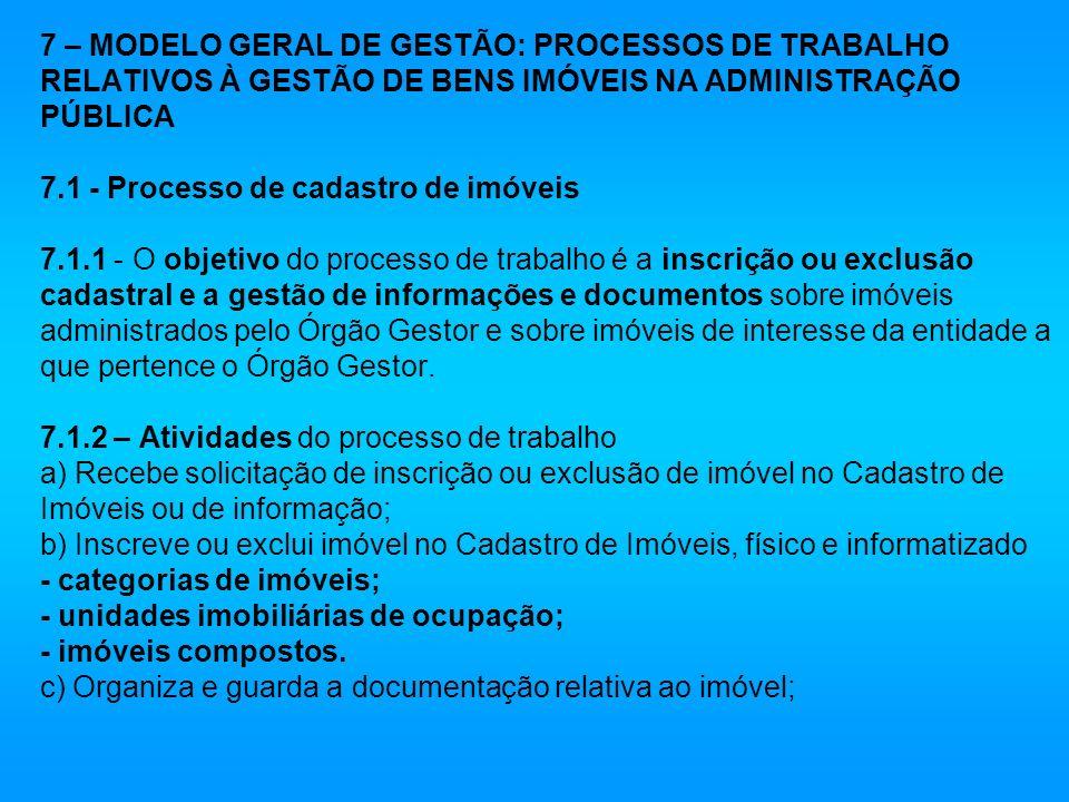 7 – MODELO GERAL DE GESTÃO: PROCESSOS DE TRABALHO RELATIVOS À GESTÃO DE BENS IMÓVEIS NA ADMINISTRAÇÃO PÚBLICA 7.1 - Processo de cadastro de imóveis 7.