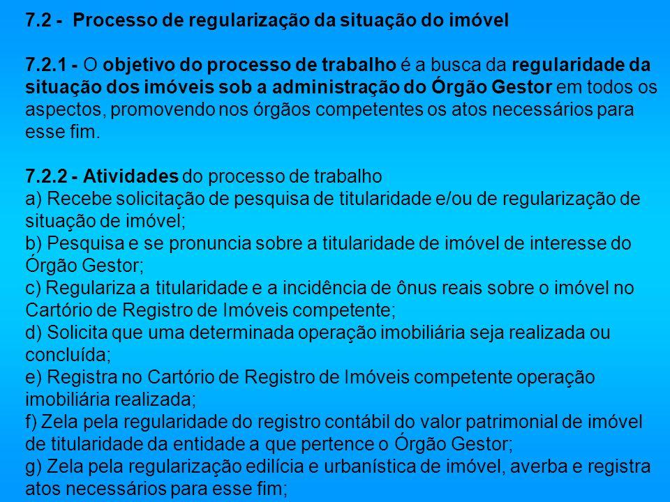 7.2 - Processo de regularização da situação do imóvel 7.2.1 - O objetivo do processo de trabalho é a busca da regularidade da situação dos imóveis sob