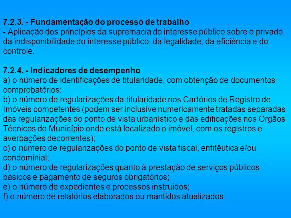 7.2.3. - Fundamentação do processo de trabalho - Aplicação dos princípios da supremacia do interesse público sobre o privado, da indisponibilidade do