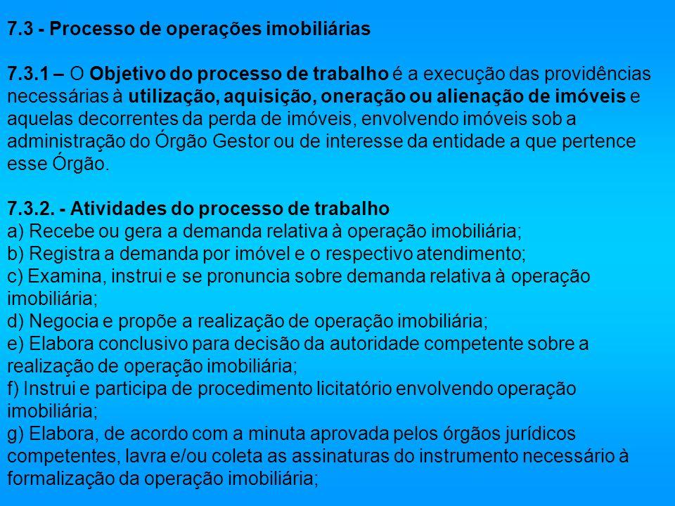 7.3 - Processo de operações imobiliárias 7.3.1 – O Objetivo do processo de trabalho é a execução das providências necessárias à utilização, aquisição,