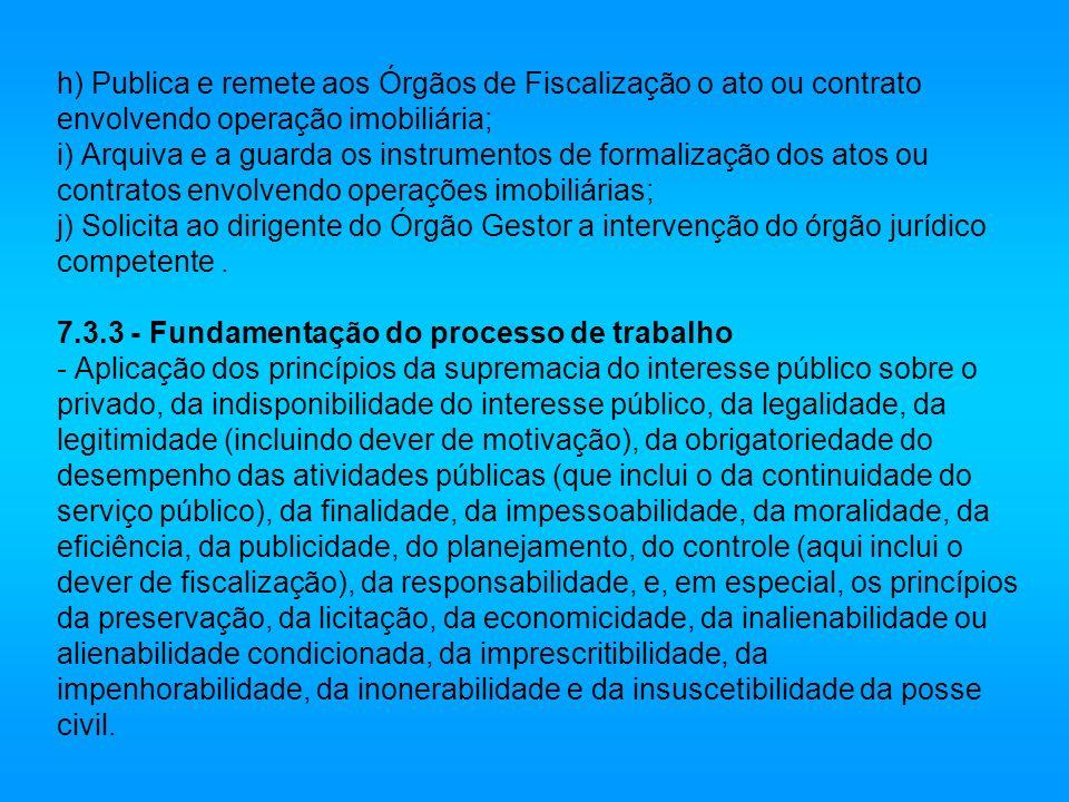 h) Publica e remete aos Órgãos de Fiscalização o ato ou contrato envolvendo operação imobiliária; i) Arquiva e a guarda os instrumentos de formalizaçã