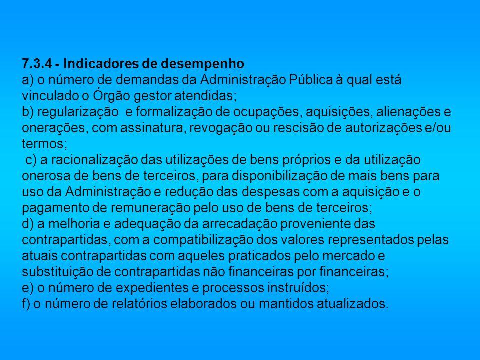 7.3.4 - Indicadores de desempenho a) o número de demandas da Administração Pública à qual está vinculado o Órgão gestor atendidas; b) regularização e
