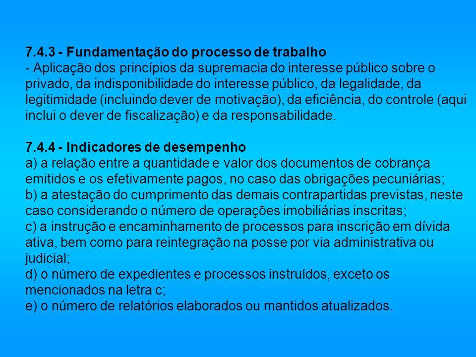 7.4.3 - Fundamentação do processo de trabalho - Aplicação dos princípios da supremacia do interesse público sobre o privado, da indisponibilidade do i