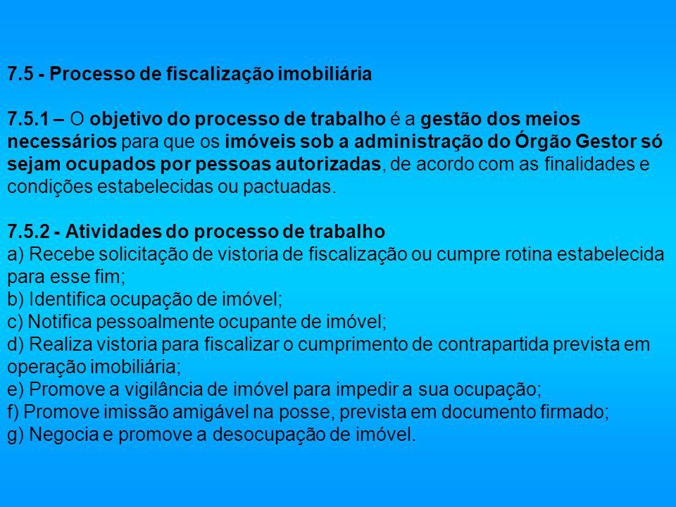 7.5 - Processo de fiscalização imobiliária 7.5.1 – O objetivo do processo de trabalho é a gestão dos meios necessários para que os imóveis sob a admin
