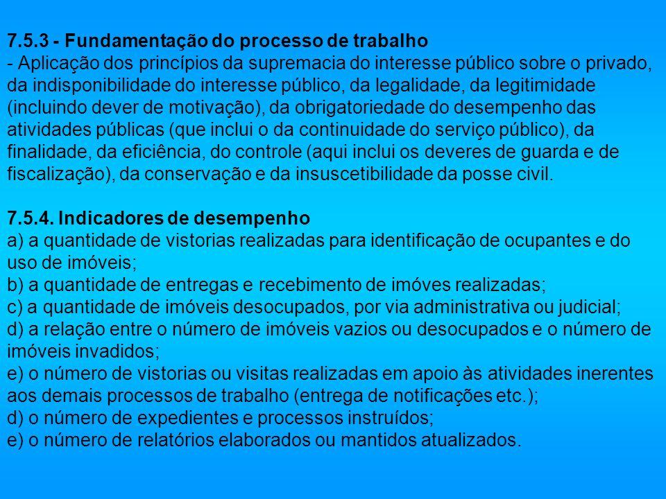 7.5.3 - Fundamentação do processo de trabalho - Aplicação dos princípios da supremacia do interesse público sobre o privado, da indisponibilidade do i