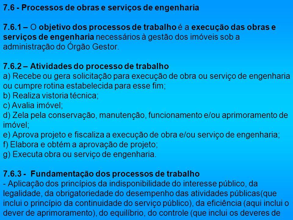 7.6 - Processos de obras e serviços de engenharia 7.6.1 – O objetivo dos processos de trabalho é a execução das obras e serviços de engenharia necessá