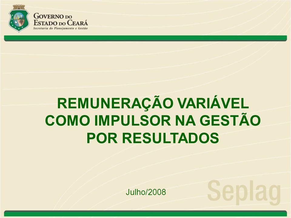 Contextualização Modelo de Gestão do Poder Executivo Estadual Gestão Por Resultado Modelo que contribua efetivamente para a melhoria da qualidade e da eficiência dos serviços públicos Gratificação de Desempenho - Remuneração Variável