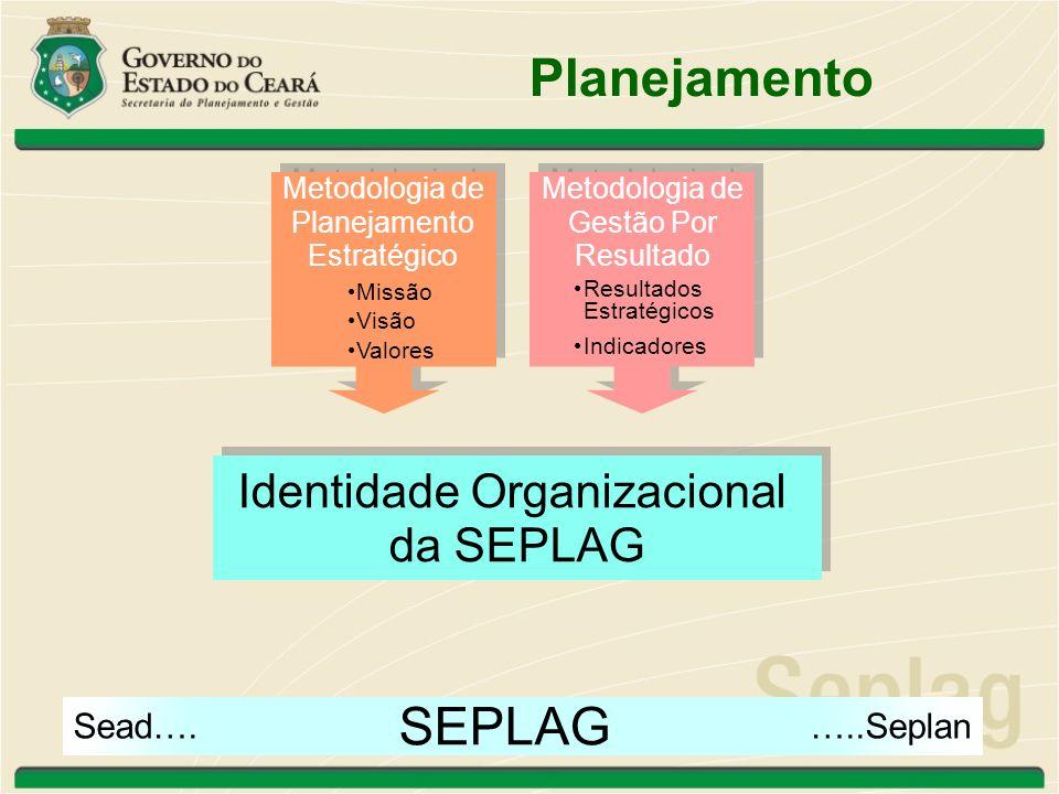 Planejamento SEPLAG Missão Visão Valores Resultados Estratégicos ÁREAS da SEPLAG Missão Visão Valores Processos Produtos Planos de Ação Planejamento Estratégico da Seplag