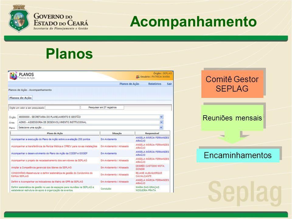 Acompanhamento Planos Reuniões mensais Comitê Gestor SEPLAG Comitê Gestor SEPLAG Encaminhamentos
