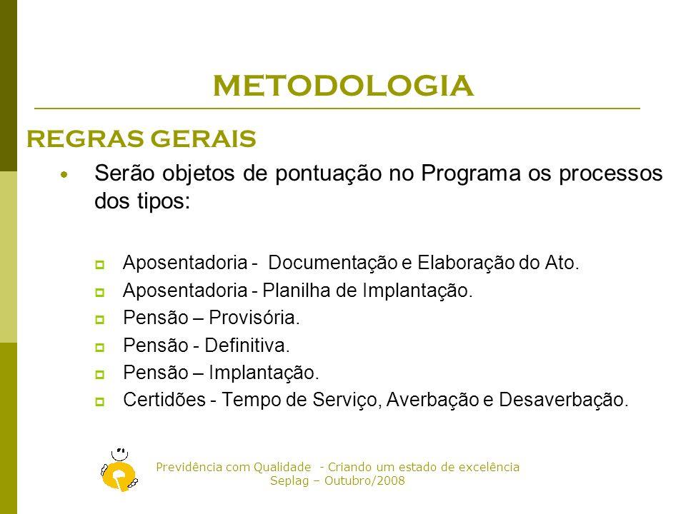 Previdência com Qualidade - Criando um estado de excelência Seplag – Outubro/2008 METODOLOGIA REGRAS SETORIAIS A Comissão realiza visitas de acompanhamento do desempenho nas Setoriais, trimestralmente.