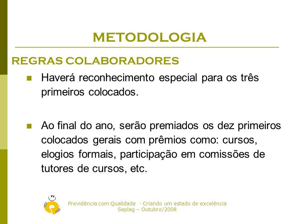 Previdência com Qualidade - Criando um estado de excelência Seplag – Outubro/2008 METODOLOGIA REGRAS COLABORADORES O colaborador que for voluntário em outra secretaria ganha 15 pontos por cada processo analisado/instruído.