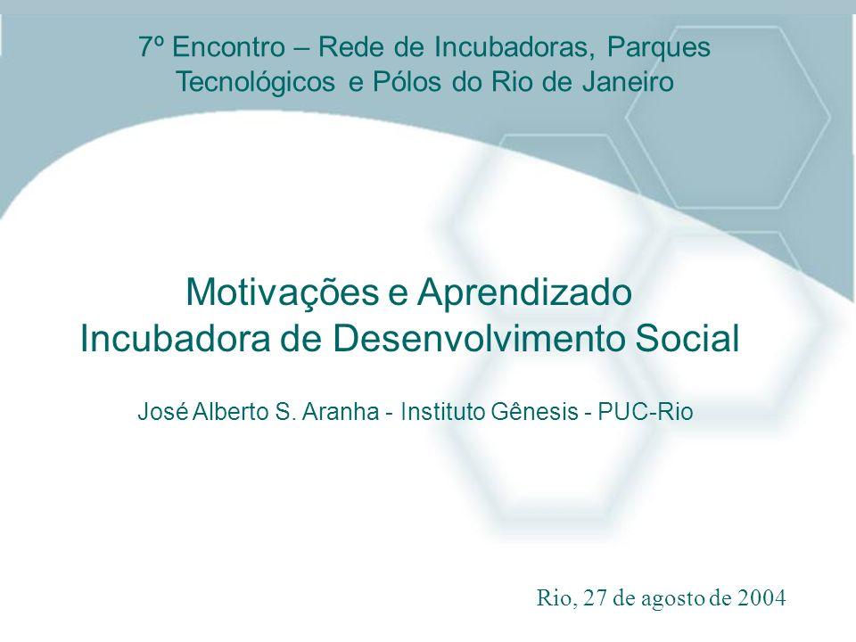 Motivações e Aprendizado Incubadora de Desenvolvimento Social José Alberto S. Aranha - Instituto Gênesis - PUC-Rio Rio, 27 de agosto de 2004 7º Encont