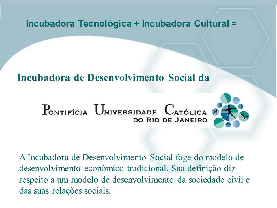 Incubadora de Desenvolvimento Social da Incubadora Tecnológica + Incubadora Cultural = A Incubadora de Desenvolvimento Social foge do modelo de desenv
